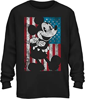 Disney Mickey Mouse American Flag Classic Vintage Retro Distressed America Patriotic Graphic Men's Adult Long Sleeve Shirt