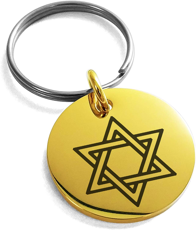 Tioneer Stainless Steel Interlocking Hexagram Star of David Symbol Small Medallion Circle Charm Keychain Keyring