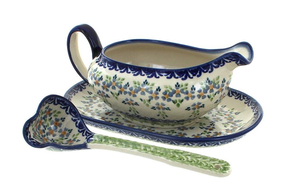 Blue Rose Polish Pottery Summer Vine Gravy Boat & Ladle