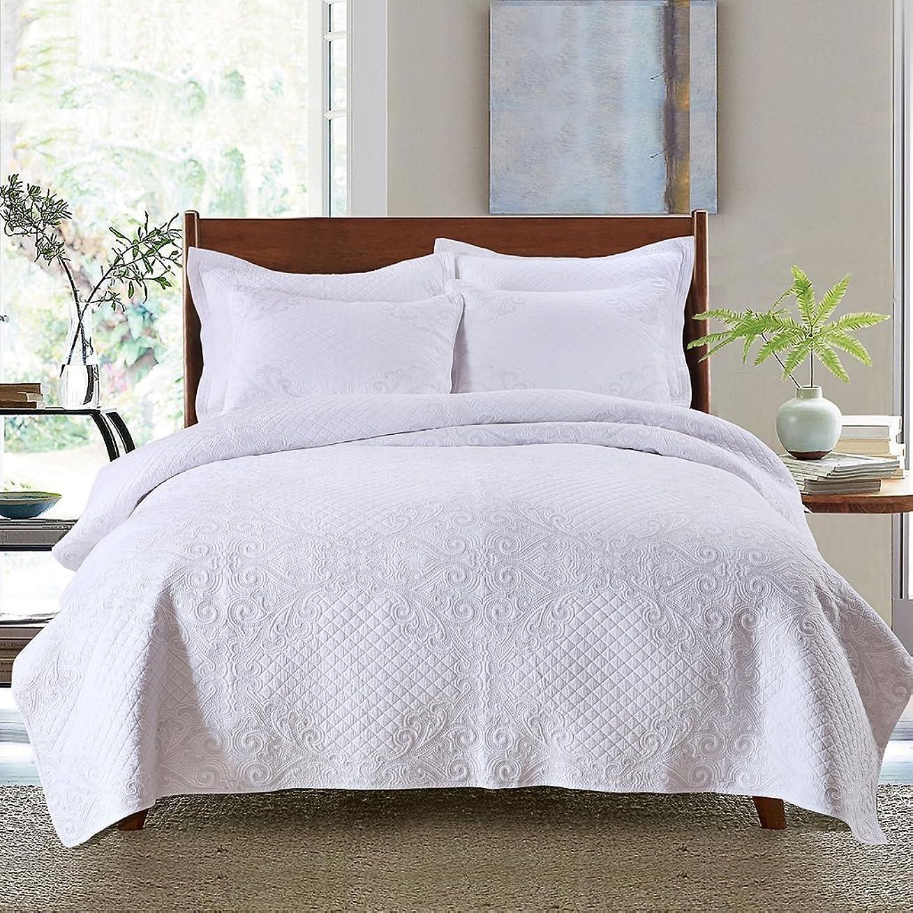 アレキサンダーグラハムベルレビュアー肘MEIQB ベッドカバー ベッドスプレッド マルチ カバー キルト おしゃれ ダブル 綿100% 3点セット ホワイト (白い, 250×270CM)