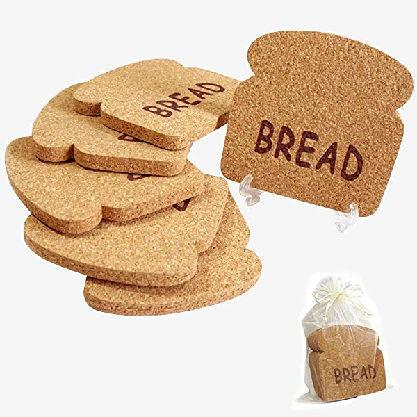 GOVA Cork Coasters Set 6 Pcs Bread Coasters W 2 Holders In Gift Bag Extra Absorbent Diameter 4x4 Thickness 0 4 Fun Drink Coaster Set Not Monotonous As Round Square