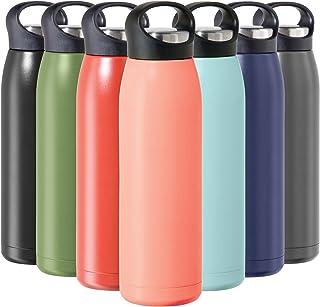 زجاجة مياه معزولة من الفولاذ المقاوم للصدأ من OGGI فري ستايل - معزولة بجدران مزدوجة، حرارة للسفر، 680 مل، مرجاني