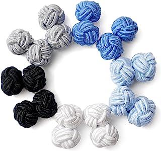 HONEY BEAR 5 Pairs Mens/Women Silk Fabric Knot Twisted Cufflinks Set, for Shirt/Dress Business Wedding Gift