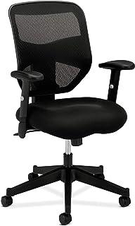 HON Prominent High Back Work Mesh Computer Chair for Office Desk, (HVL531), Swivel-Tilt, Black Fabric