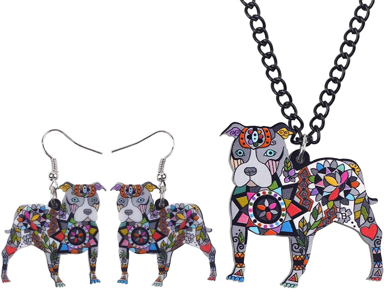DUOWEI American Pitbull Terrier Earrings Necklace Set Charms Dog Dangle Pendant Jewelry Set For Women