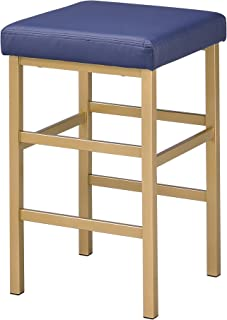 Office Star Backless Stool with Gold Frame, 26-Inch, Blue
