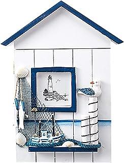 Kentop Armoire à Clés de Style Méditerranéen en Bois de Nautique Mural en Porte-Clés Boîte de Rangement,Oiseau de mer