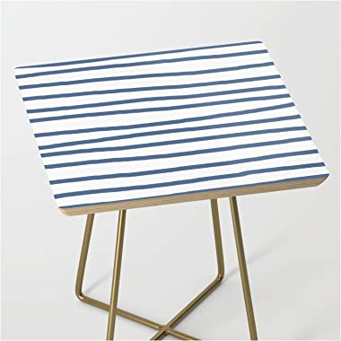 Simply Drawn Stripes in Aegean Blue and White by Simple Luxe on Side Table - Gold - Square