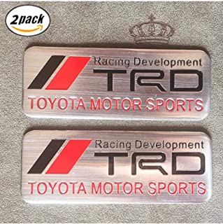 3D Metal TRD Car Emblem Chrome Stickers Decals Badge Labeling Fit for Toyota Fj Cruiser Supercharger Tundra Avalon Camry Tacoma 4runner Yaris (silver)2 Pcs