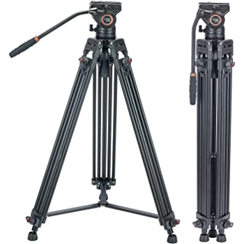 Video Tripod System, Cayer BV30L 72 inch- Professional Heavy Duty Aluminum Twin Tube Tripod, K3 Fluid Head, Mid-Level Spreader, Max Loading 13.2 LB, DSLR Camcorder, Plus 1 Bonus Quick Release Plate