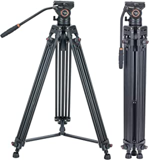 Video Tripod System, Cayer BV30L 72 inch- Professional Heavy Duty Aluminum Twin Tube Tripod, K3 Fluid Head, Mid-Level Spre...