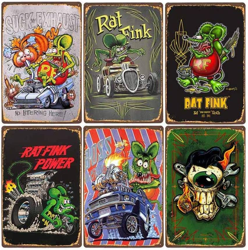 AYLAODI 6Cps Rat Ranking TOP13 Fink Vintage Tin Plaque C Sign Metal Decorative Louisville-Jefferson County Mall