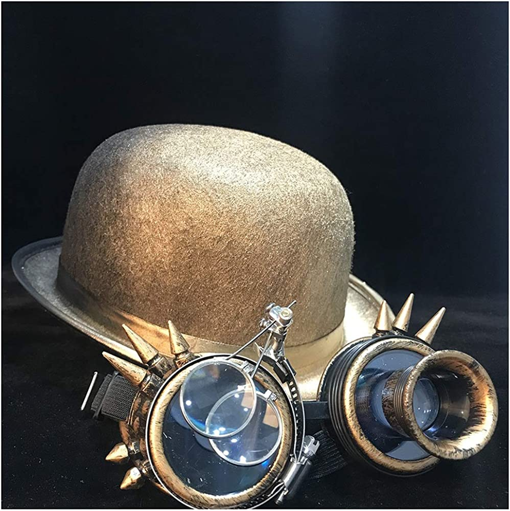 hxgang New Women Men Steampunk Hat Bowler Hat Cosplay Topper Top Hat Fedora Gear Glasses Billycock Groom Hat Size 58CM