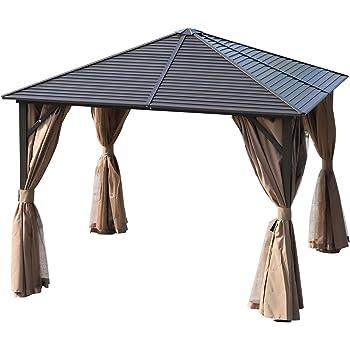 adatto per vasche idromassaggio 3,6/m x 3/m tende laterali per la privacy e zanzariere tetto rigido in policarbonato fum/è Lussuoso gazebo Swanbourne per party in giardino