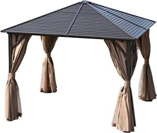 Outsunny 10' x 10' Aluminum Frame Hardtop Patio Gazebo with Mesh Nettings, Privacy Curtains, & Top Hook, Light Brown