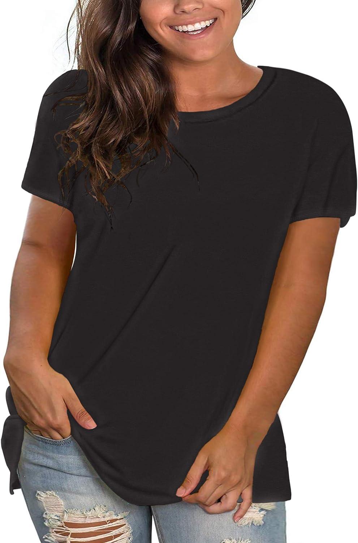 DEFJOOY L-4XL Women's Plus Size T-Shirt Short Sleeve Shirts Crew Neck Tunic Tops Soft Basics
