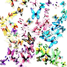 SooFam 60 Pcs 5 Packs Beautiful 3D Butterfly Wall Decals Removable DIY Home Decorations Art Decor Wall Stickers & Murals f...