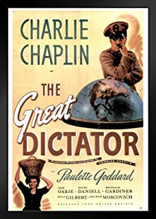The Great Dictator Movie Black Wood Framed Poster 14x20