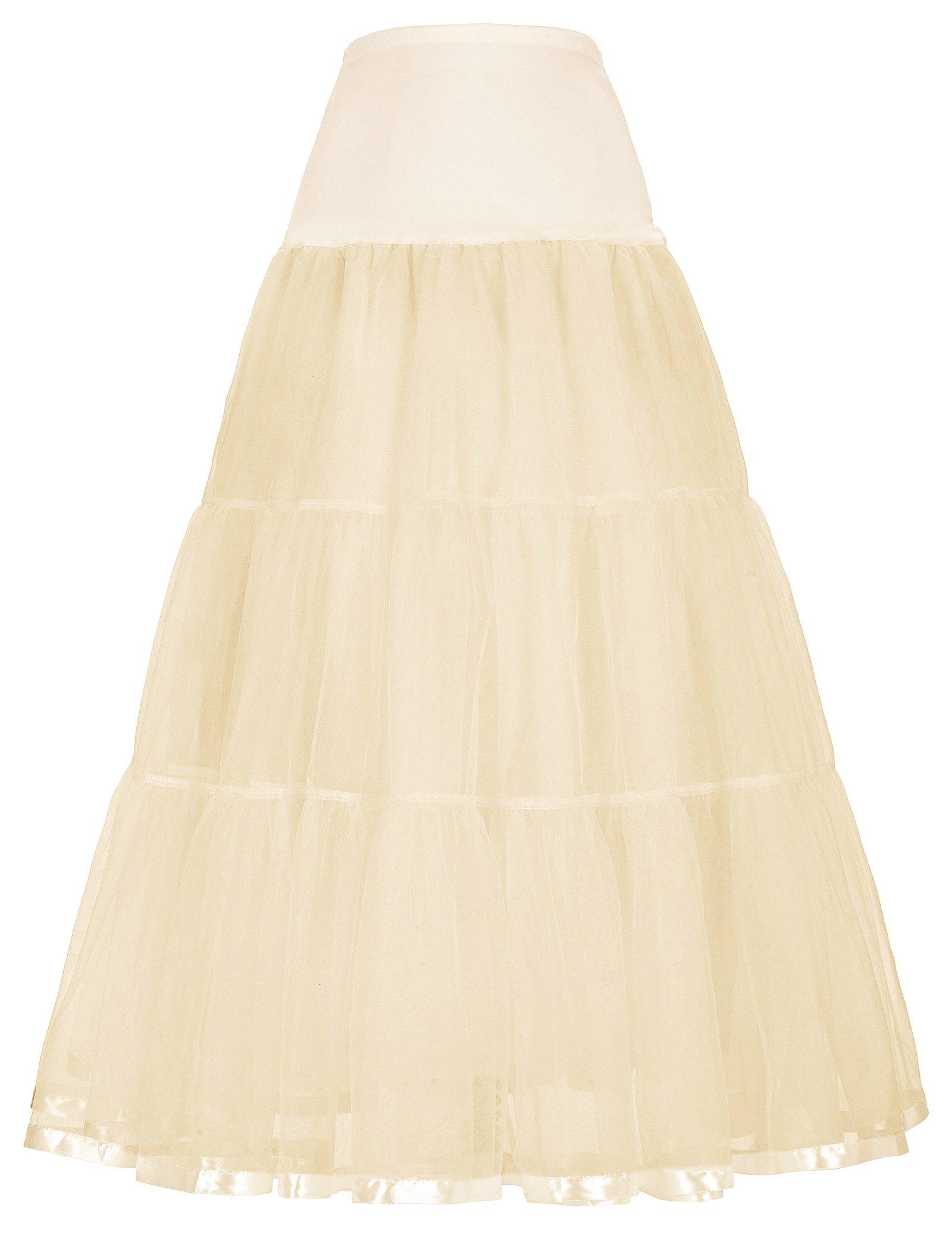 GRACE KARIN Women 50s Underskirt Long Petticoat Wedding Evening Gowns Crinoline Half Slips 8 Colors S-Plus Size 4XL