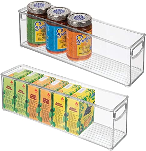 Amazon Com Mdesign Plastic Stackable Kitchen Pantry Cabinet Refrigerator Or Freezer Food Storage Bins With Handles Organizer For Fruit Yogurt Snacks Pasta Bpa Free 16 Long 2 Pack Clear Kitchen Dining