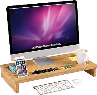 Homfa Soporte para Monitor Soportes para Pantallas de bambú Mesas de Ordenador Organizador de Escritorio para Monitor 60x3...