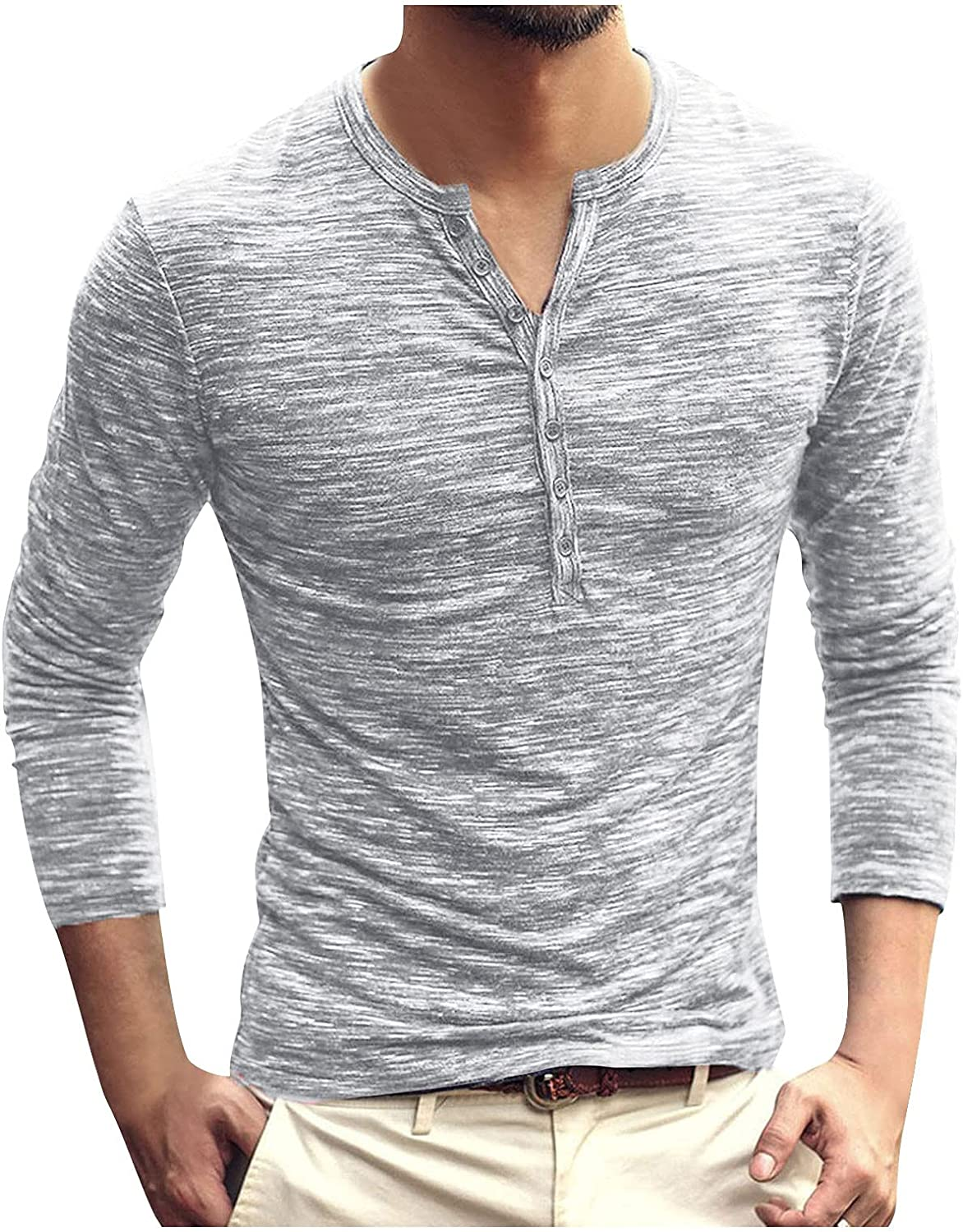 Mens Slim-fit Henlye Shirt Long Sleeve Solid O Neck Button Down Sport Fitness Tee Outdoor Hiking Fishing Refresh Tees