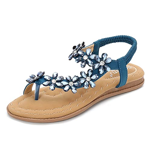 736830dc BELLOO Women's Summer Boho Flat Sandals Peep-Toe Flip Flops Rhinestone  Beaded Shoes with Ankle
