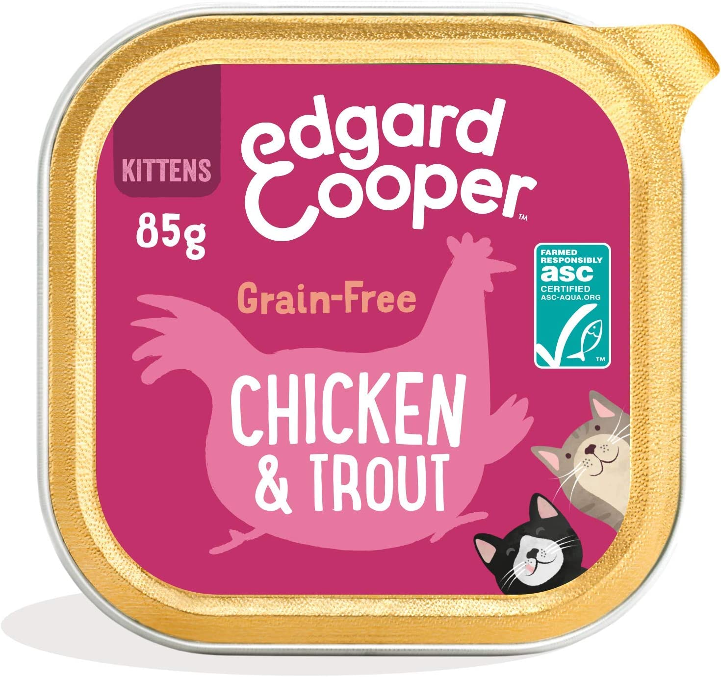 Edgard & Cooper Comida humeda Gatos Kitten sin Cereales, Natural con Pollo Fresco y Truchas con certificación ASC. Comida Sana Rica en nutrientes y antioxidantes Naturales. Pack tarrinas de 19x85gr