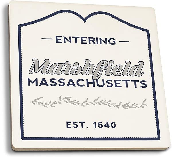 Lantern Press Marshfield Massachusetts Now Entering Blue Set Of 4 Ceramic Coasters Cork Backed Absorbent