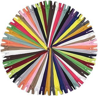 50 peças de zíperes de nylon YaHoGa de 55 cm para costura, artesanato, alfaiate, zíper, 20 cores (50 peças)