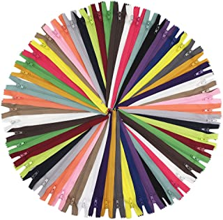 YaHoGa 50pcs 24 Inch (60cm) Nylon Coil Zippers for Sewing Crafts Tailor Nylon Zippers Bulk 20 Colors (24