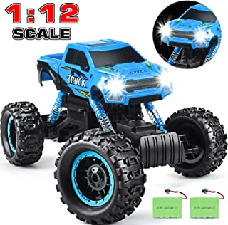 DOUBLE E RC Cars Newest 1:12 Scale Remote Control Car with Two Rechargeable Batteries and Dual Motors Off Road RC Trucks,High Speed Racing Car for Kids,Blue
