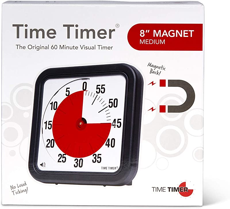 Time Timer Original 8 Inch Magnet 60 Minute Visual Timer Classroom Or Meeting Countdown Clock For Kids And Adults Black