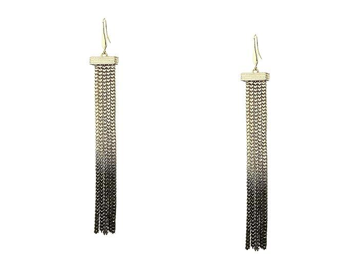 Steve Madden  Fringe Chain Drop Earrings (Black) Earring