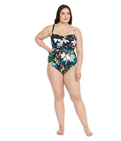 LAUREN Ralph Lauren Plus Size Watercolor Tropical Twist Bandeau Underwire One-Piece (Multi) Women