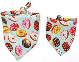 TC5DCS Cat Dog Bandana Bibs Colorful Doughnut Printed Scarf Collar Adjustable Pet Neckerchief Saliva Towel for Small Medium Large Dogs