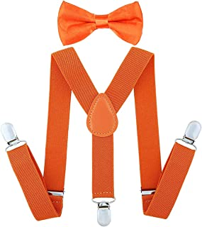 MENDENG Mens Orange Suspenders Bow Tie Set Y-Shape Suspender Adjustable Bowtie