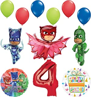 Mayflower Products PJ Masks 4th Birthday Party Supplies Catboy, Owlette and Gekko Balloon Decorations