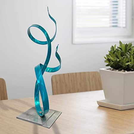 Amazon Com Statements2000 Modern Metal Centerpiece Abstract Garden Decor Contemporary Table Top Accent Sculpture Blue Sea Breeze Accent By Jon Allen 18 Kitchen Dining