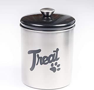 The PetSteel | Stainless Steel Treat Jar with Black Lid | Fits up to 2 lbs of Pet's Treats | Tight Fitting Lids | Great Way to Store Your Dog or Cat's Food