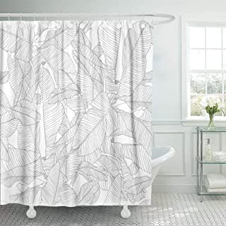 LILYMUA White Fabric Bathroom Shower Curtains, Tropical Palm Leaves Pattern Trendy Fabric with Bath Curtain Hooks Polyester Shower Curtain Waterproof Bathroom Decor 72x78 Inch