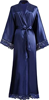 Satin Kimono Robe Long Bridesmaid Wedding Bath Robe with Lace Trim