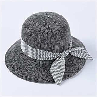 QinMei Zhou Spring and Summer hat Simple Bow Korean Version of The Wild Pure Color Fisherman hat Visor Female Dome Sun hat (Color : Grey)