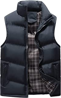Men's Classic Sleeveless Stand Collar Quilted Puffer Down Vest Outwear