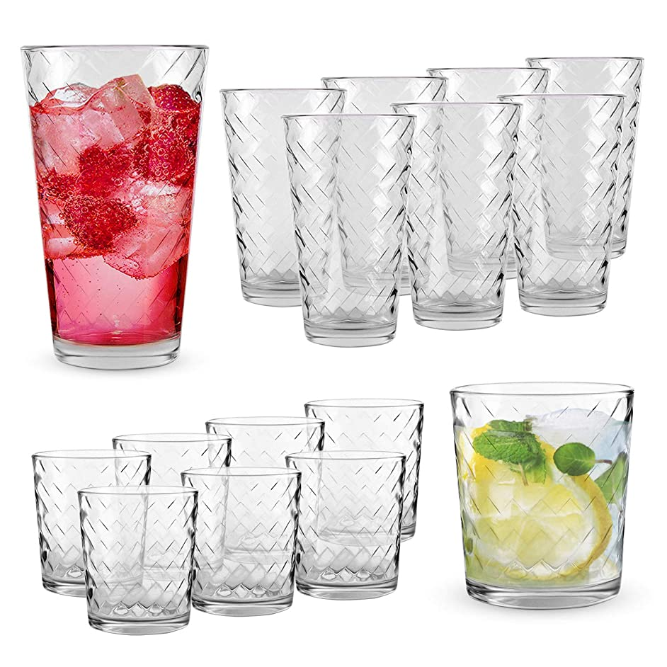 Clear Drinking Glasses Mixed Set | 16-PC Real Glassware with Heavy Base | 8 Highball and 8 Double Old Fashioned Drinkware | Mixed Tumbler Set For Water, Whiskey, Cocktails | Best Kitchen Gift