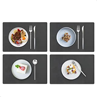 JTX Placemats for Dining Table, Leather Placemats Set of 4, Easy Clean Heat & Stain Resistant Non-Slip Washable Table Mats...