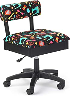 Arrow Height Adjustable Hydraulic Sewing Chair - Black with Black Riley Blake Fabric