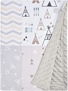 Baby Blanket Super Soft Minky with Double Layer Dotted Backing, Lovely Indian Style Tent and Cute Gray Arrow Printed 30 x 40 Inch Grey