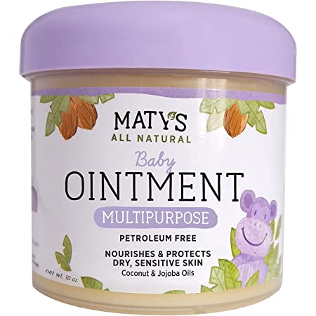 Maty's All Natural Multipurpose Baby Ointment - Petroleum & Fragrance Free - Made with Coconut & Jojoba Oils - 10 oz.