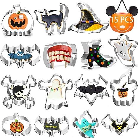 Amazon.com: Halloween Cookie Cutters 15pcs, Stainless Steel Holiday Cookie Cutters for Halloween Decorations: Home & Kitchen